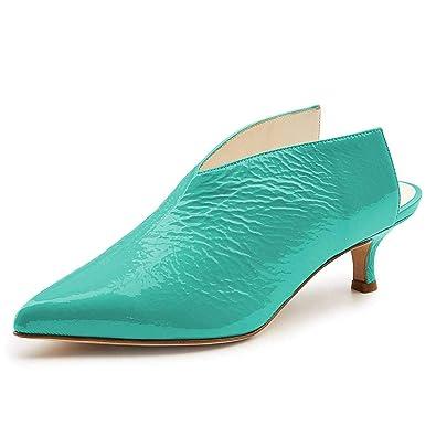 0a83f64a29b XYD Women Pointed Toe Kitten Mules Low Heels Slip On Pumps Slide Sandals  Clog Shoes Aqua