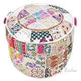 Eyes of India 17 X 12 White Patchwork Round Pouf Pouffe Ottoman Cover Floor Seating Bohemian Boho Indian
