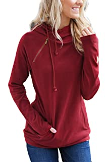 80b121c66 Alelly Women's Long Sleeve Oblique Zipper Drawstring Double Hooded  Sweatshirt Pullover Tops