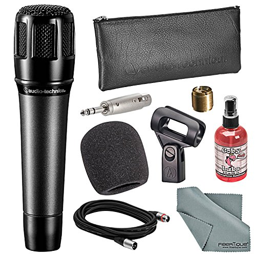 Audio-Technica ATM650 Hypercardioid Dynamic Instrument Microphone Bundle with Windscreen + Mic Sanitizer + Adapter + XLR Cable + Fibertique Cloth by Photo Savings