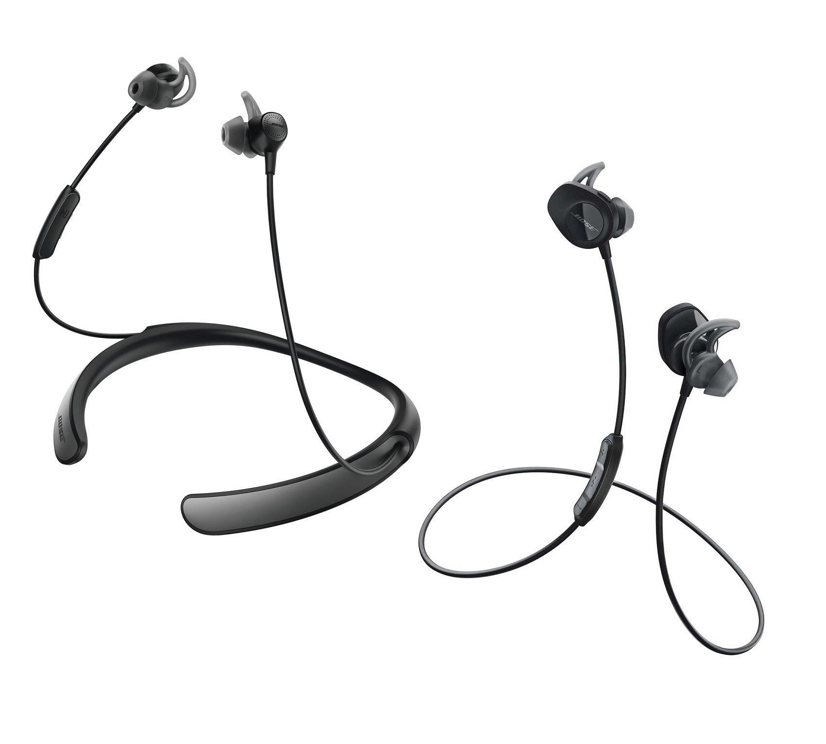 Bose Bluetooth Headphone Bundle - SoundSport Wireless Black & QuietControl 30 Black In-ear Headphones