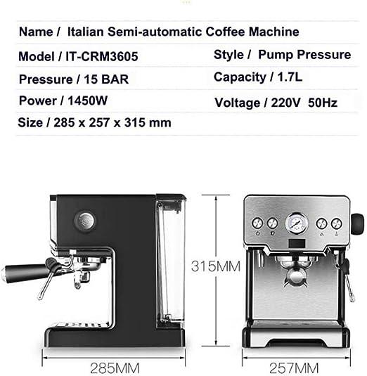 ZQALOVE 15 Bar Italiano semiautomática Cafetera Cappuccino Leche ...