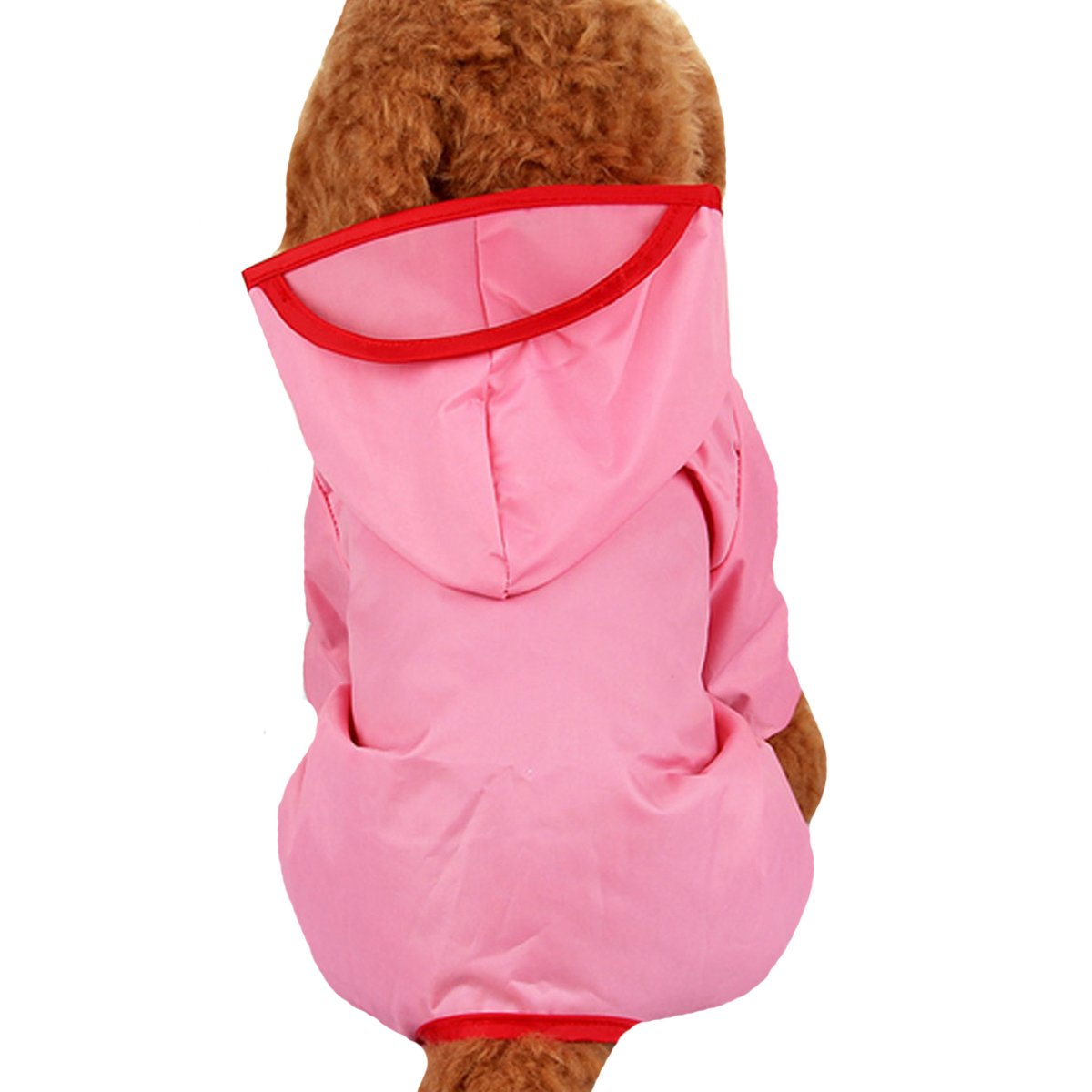 Budd Pet Dog Raincoat Puppy Waterproof Clothes Lightweight Rain Jacket Poncho Outdoor Hoodies Jumpsuit (Pink,L)