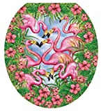 Toilet Tattoos TT-7307-R Flamingo's Fancy Decorative Applique for Toilet Lid, Round