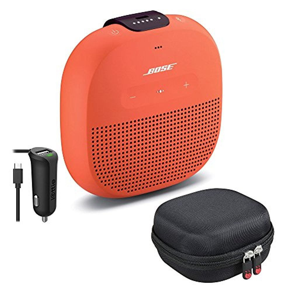 Bose SoundLink Micro Bluetooth Speaker, Bright Orange, with Protective Hardshell Travel Case and Micro USB Car Charger