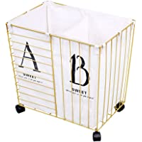 Laundry Basket Wrought Iron Extra Large European Style Mobile Storage Basket with Wheels And Toy Bathroom Storage Bucket…