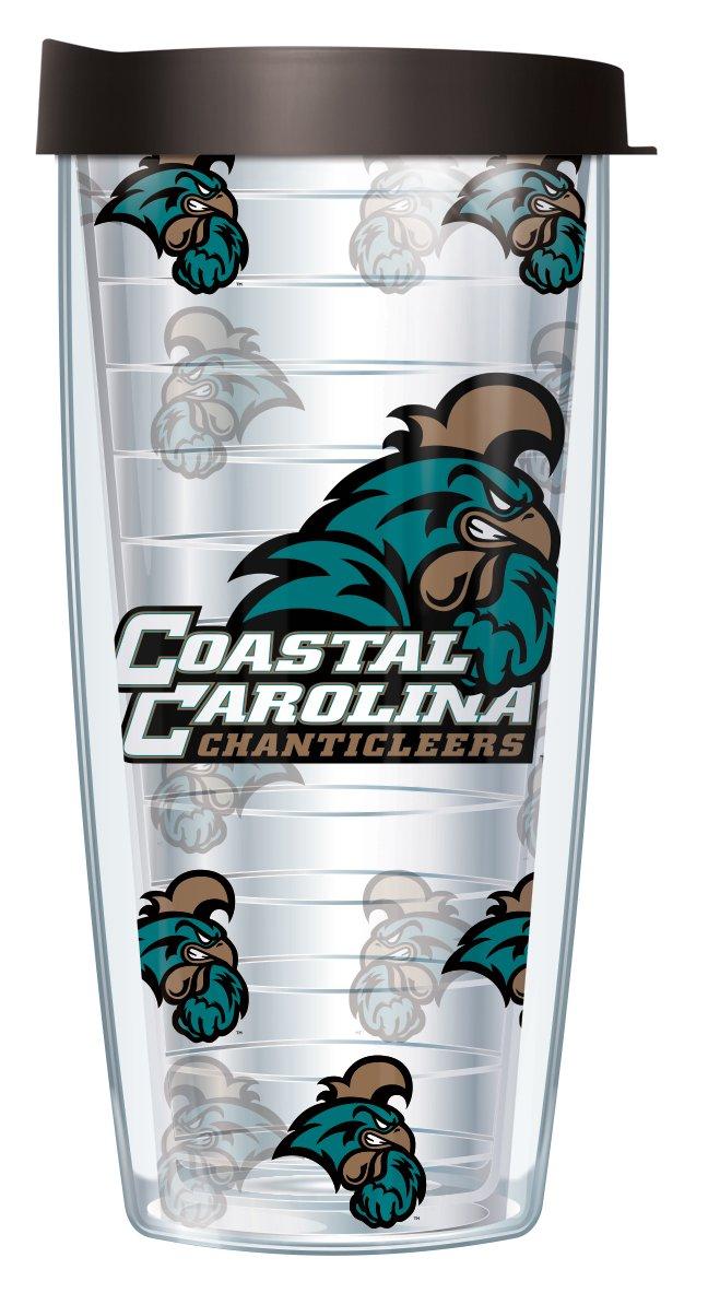 Coastal Carolina University Repeat Logo on Clear 16 Oz Traveler Tumbler Mug with Lid
