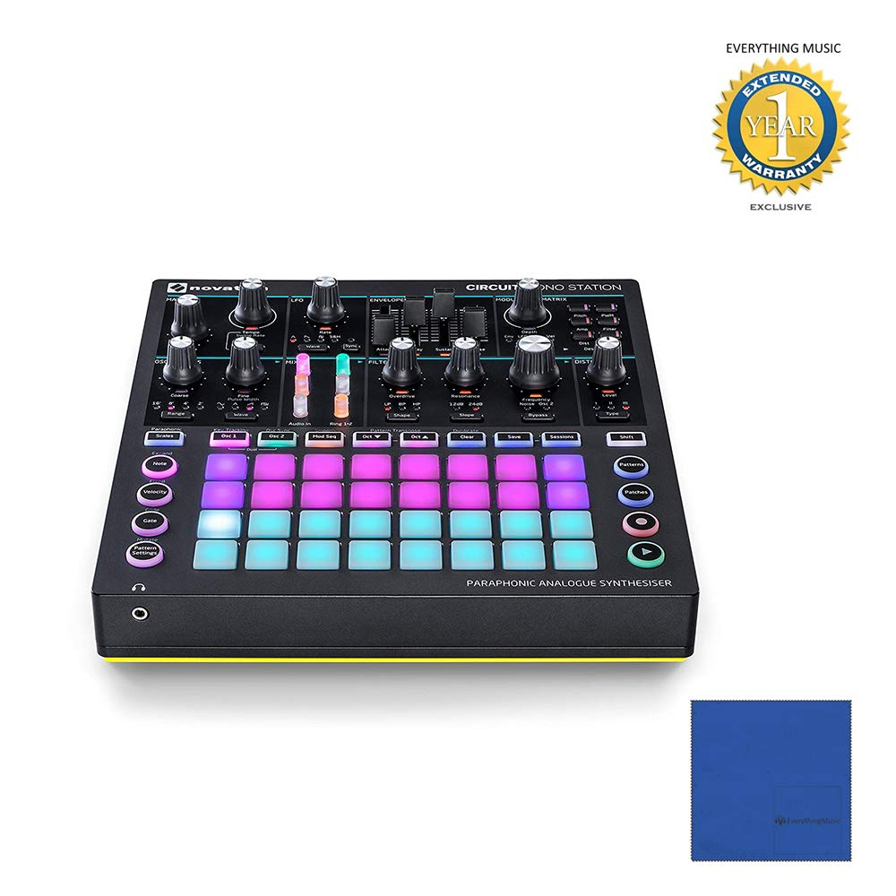 Novation Circuit Mono Station Paraphonic Analog Synthesizer with Microfiber and 1 Year Everything Music Extended Warranty