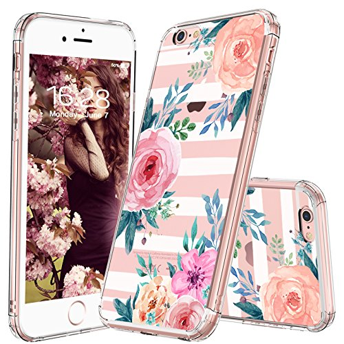 best service 10b46 a3a12 MOSNOVO iPhone 6S Plus Case/iPhone 6 Plus Case, Girls Blossom Stripes  Floral Flower Pattern Clear Design Plastic Case with TPU Bumper Case Cover  for ...