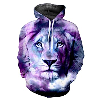 e7931cff76c2 YZFZYLW 3D Printing Galaxy Space Lion Animal Pattern Leisure Hoodie Unisex  Fashion Winter Couple Long Sleeve