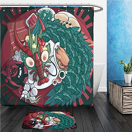 Beshowereb Bath Suit: ShowerCurtian & Doormat dragon boat festival food cartoon illustration - Macy's Festival