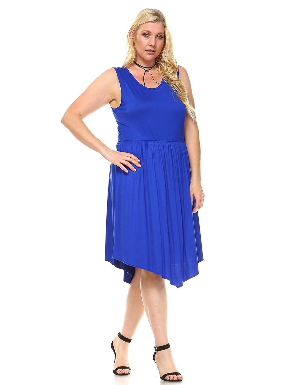Sleeveless Keyhole Back Hi Low Hem Skater Seam Dress by Star Vixen
