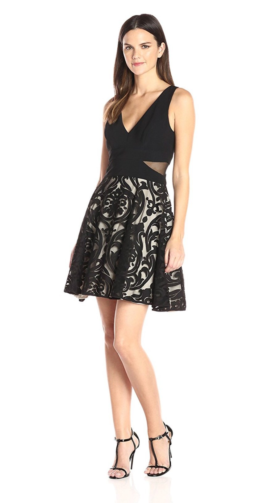 Xscape Fit and Flare Lace Overlay Dress 14