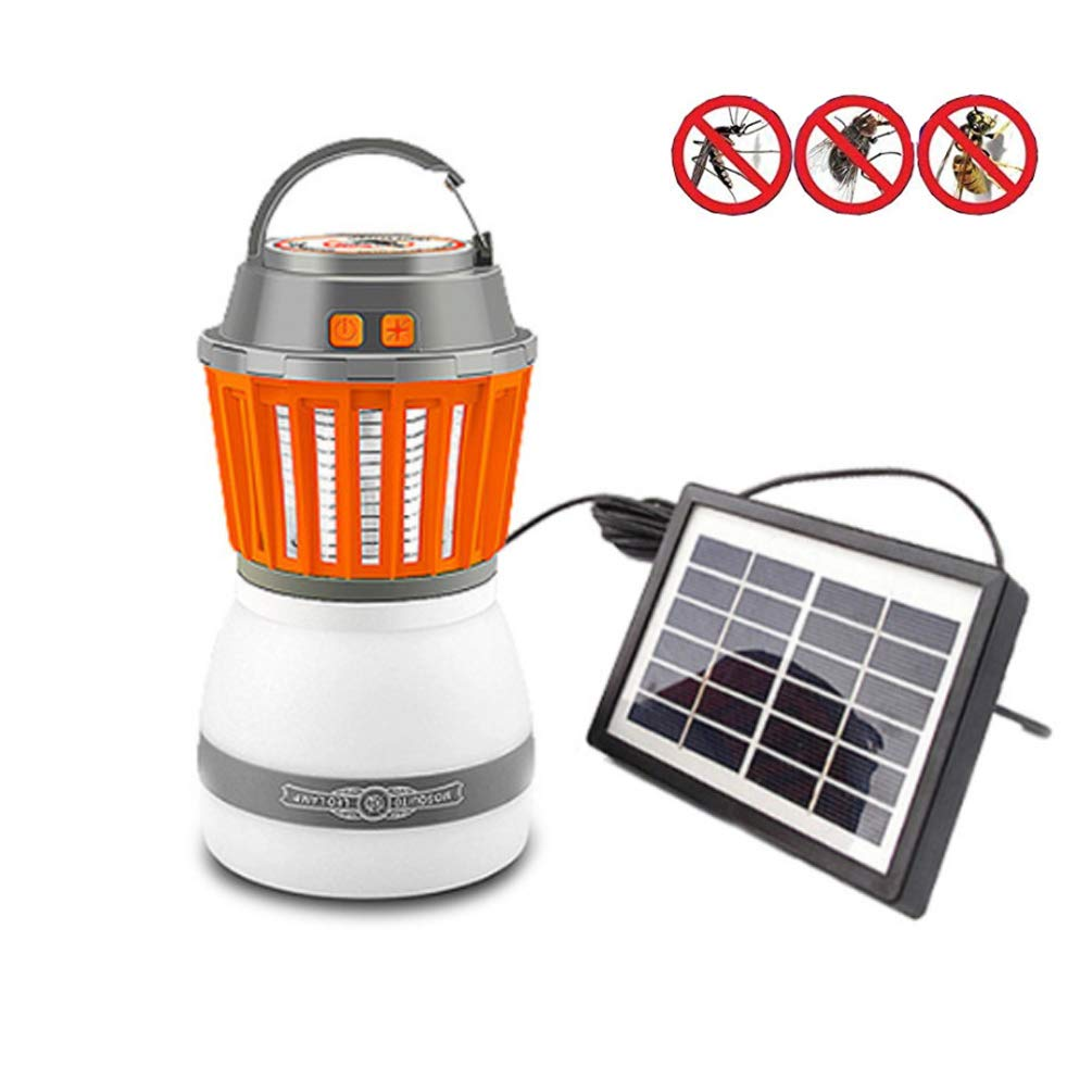 LED Solar Mosquito Light Outdoor Waterproof Portable Tent Light IP67 USB Rechargeable Camping Hiking Mosquitoes Control