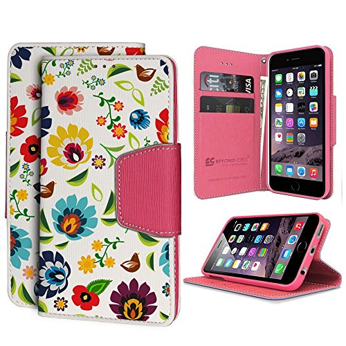 Infolio Wallet Case for iPhone 6 Plus PU Leather TPU Case Card Slot Bill Fold Magnetic Flap Kickstand White Pink Pink TP Rainbow Daisy from Beyond Cell