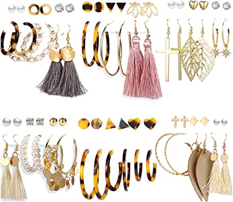 Front Line Jewelry Fashion Gold Tone Metal Leaves Earrings