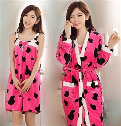 MIWANG La primavera y el verano de baño precioso falda pijamas, Señoras Vaca Algodón Albornoz