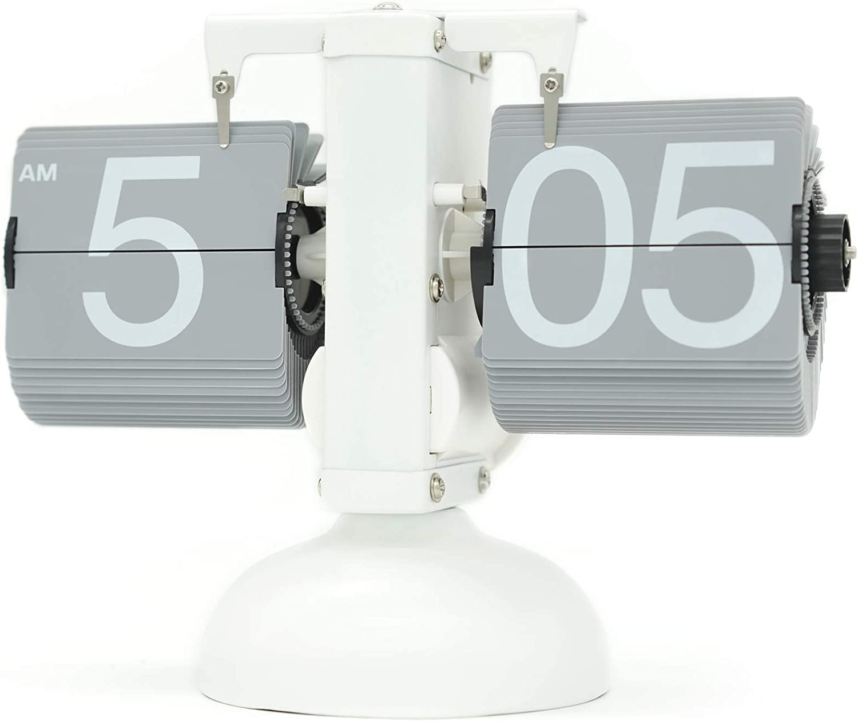 Rejea WonderZoo Flip Clock, Home Décor Desk Clock, Retro Auto Flip Down, Vintage Clock, Stainless Steel, Battery Powered, Digital Clocks for Living Room Décor, Desk, Shelf, Bedroom (White-Grey)