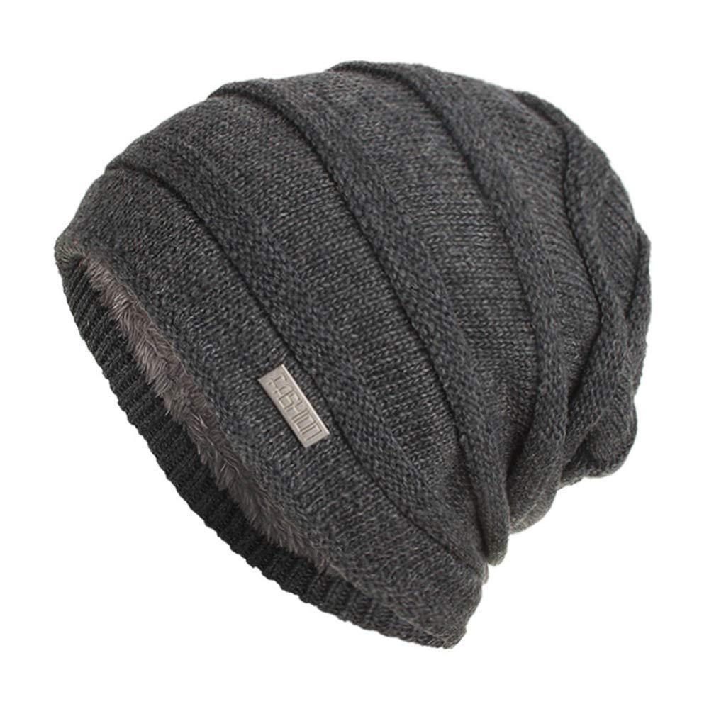 fb3c769c917 Amazon.com  BSGSH Unisex Women Men Winter Warm Ski Knitted Crochet Baggy Beanie  Hat Cap Outdoor Sports Hat (Black)  Clothing