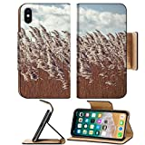 Luxlady Premium Apple iPhone X Flip Pu Leather Wallet Case IMAGE ID: 34354692 Retro vintage filtered dry reeds nature background
