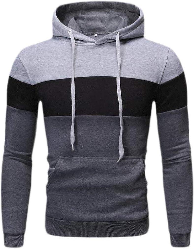 Cromoncent Mens Patchwork Pocket Drawstring Outwear Pullover Hooded Sweatshirts