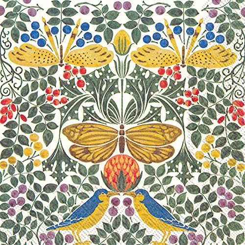 (Celebrate the Home Victoria & Albert 3-Ply Paper Cocktail Napkins, 20-Count, Birds and Butterflies)