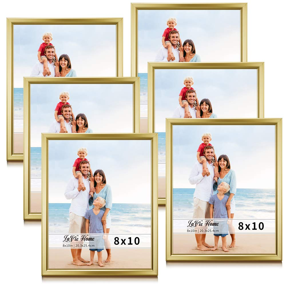 LaVie Home 8x10 Picture Frames (6 Pack, Gold) Simple Designed Photo Frame with High Definition Glass for Wall Mount & Table Top Display, Set of 6 Classic Collection by LaVie Home