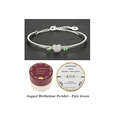 Birthstone Bracelet Silver Plated By Equlibrium - August (Peridot Pale Green) - Adjustable Size - Gift Boxed xQYr5gQawl