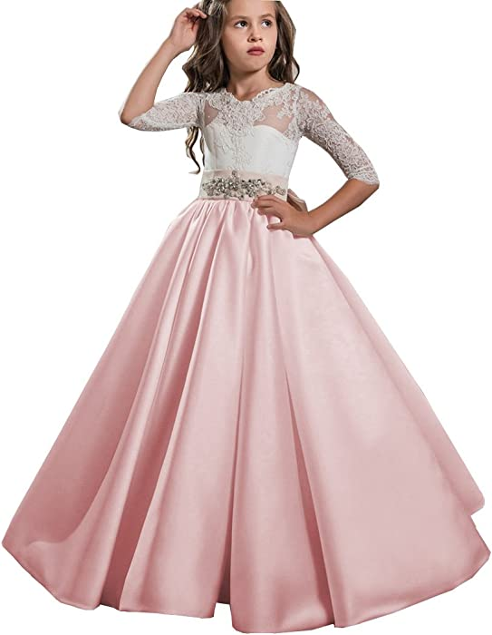 268462dcb6 Angel Dress Shop 2018 First Communion Dresses for Weddings Half Sleeves Ball  Gown for Girls Beading