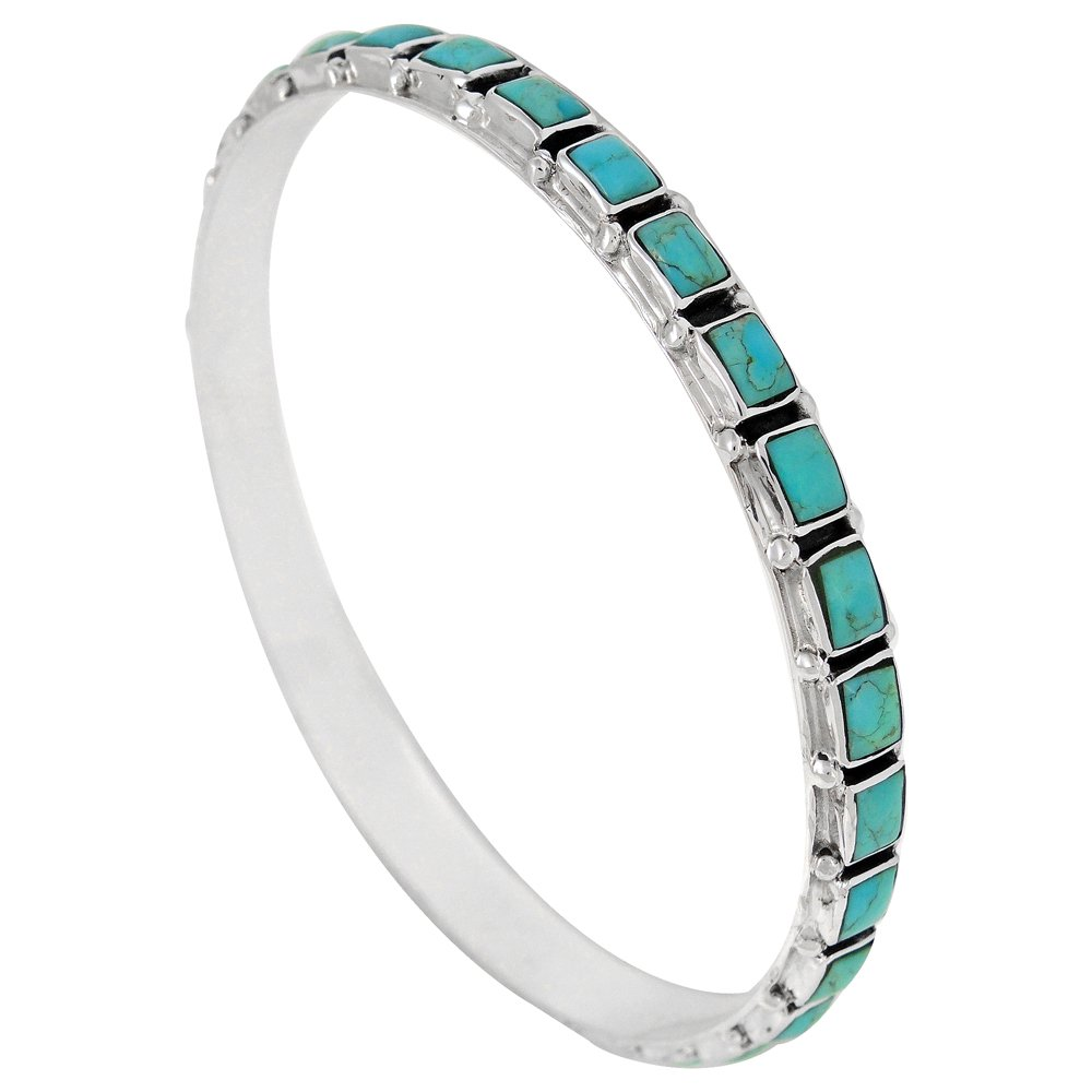 Stackable 925 Sterling Silver Bangle Bracelet Genuine Turquoise Gemstones (Turquoise)