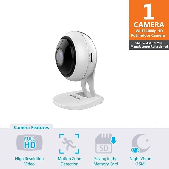 Samsung Wisenet SNH-V6431BN SmartCam 1080p Full HD PoE Wi-Fi Indoor IP Camera (Manufacturer Refurbished)