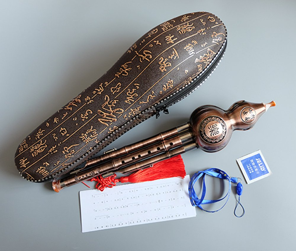 Chinese Gourd Cucurbit Flute Hulusi 3 Octaves C Key, Yunnan Musical Instrument Wind Flute for Child Kids Students, Oriental Ethnic Music Play Gift Toy with Exquisite Case by Huren Musical (Image #7)