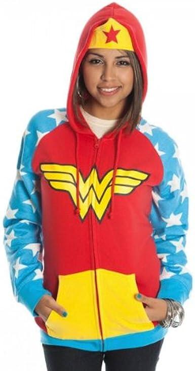 Wonder Woman Rojo Disfraz infantil con capucha chaqueta sudadera ...