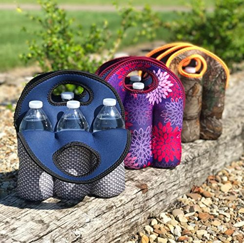 Koverz - #1 Neoprene Insulated 6-Pack Carrier, Beer Bottle Carrier, Six-Pack Tote - Midnight Mums