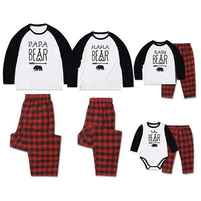 TAAMBAB Pijamas Iguales de Familiar Navideños Conjuntos Algodón Navidad Pijamas Papa Mama Baby Impresión Manga Larga Camiseta y Pantalones a Cuadros Rojos ...