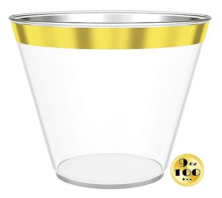 100 vasos de plástico dorado/oro rosa, vasos de plástico de 9 oz ...