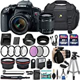 Canon EOS Rebel T7i 24.2 MP DSLR Camera with EF-S 18-55mm f/4-5.6 IS STM Lens + 2 Memory Cards + 2 Auxiliary Lenses + HD Filters + 50 Tripod + Premium Accessories (23 Items)
