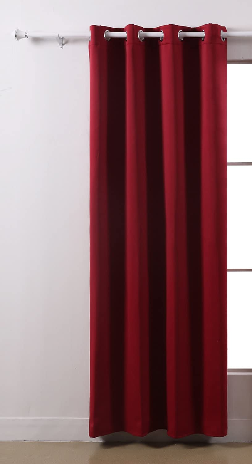 Deconovo Blackout Super Soft Grommets Thermal Insulated Room Darkening Curtain Drapes for Bedroom, 52x84 Inch, Red