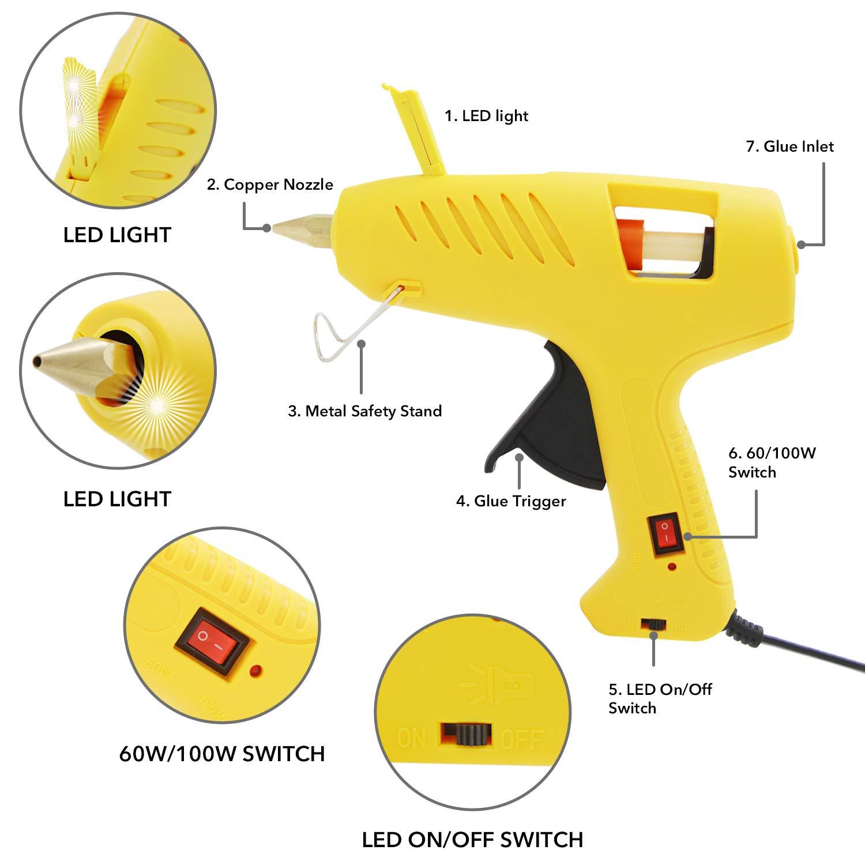 LED DIY R/éparations Bricolage Arts and Crafts 10 Batons de colle QooTec EUS005 Pistolet /à Colle 100W//60W Pistolet /à Colle Professionnel
