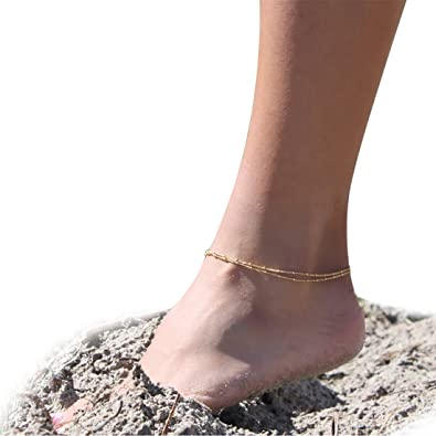 dainty tiny thin ankle cheap online bracelet gold anklet beads minimalist filled product