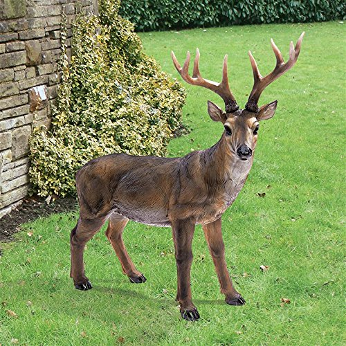 Design Toscano Big Rack Buck Deer Garden Decoy Animal Statue, 28 Inch, Polyresin, Full Color -
