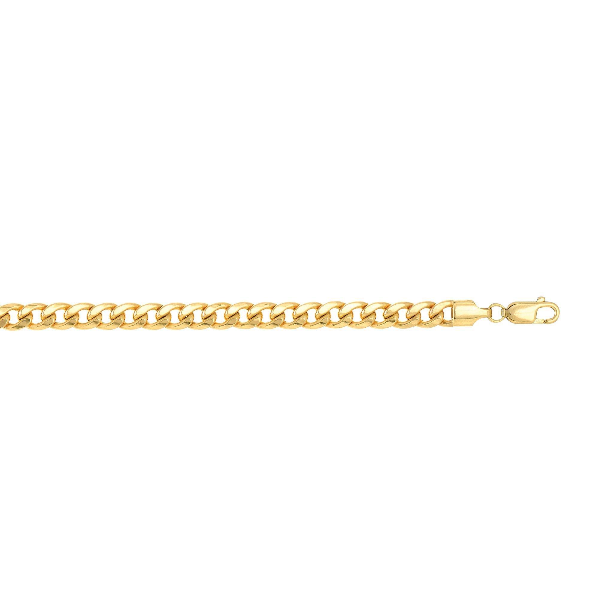 14k Yellow Gold 8.5 Inch Polish Finish Semi-solid Miami Cuban Bracelet