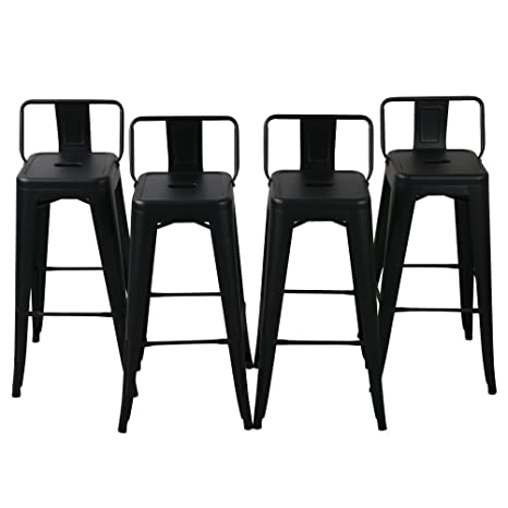 Astonishing Changjie Furniture Pack Of 4 Low Back Gunmetal Counter Bar Stool Indoor Outdoor Bistro Cafe Bar Stools 30 Inch Low Back Matte Black Theyellowbook Wood Chair Design Ideas Theyellowbookinfo