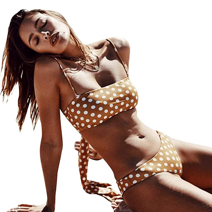 aa244459b Amazon.com: PLAVKY 2018 Sexy Retro Yellow Polka Dot Bandeau Bathing Suit  Swimsuit Swimwear Women Bikini: Clothing