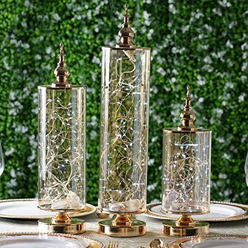 Mikash Gold Decorative Glass Storage Jar Lid Party