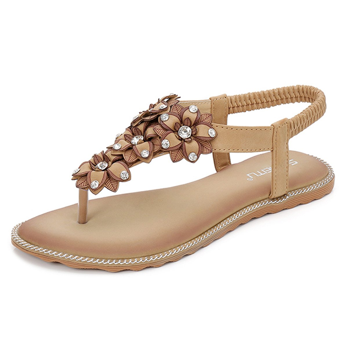 gracosy Damen Sandalen, Flip Flops Sommer Sandals Flach Zehentrenner T-Strap Offen Bouml;hmische Strand Schuhe  38 EU|Beige