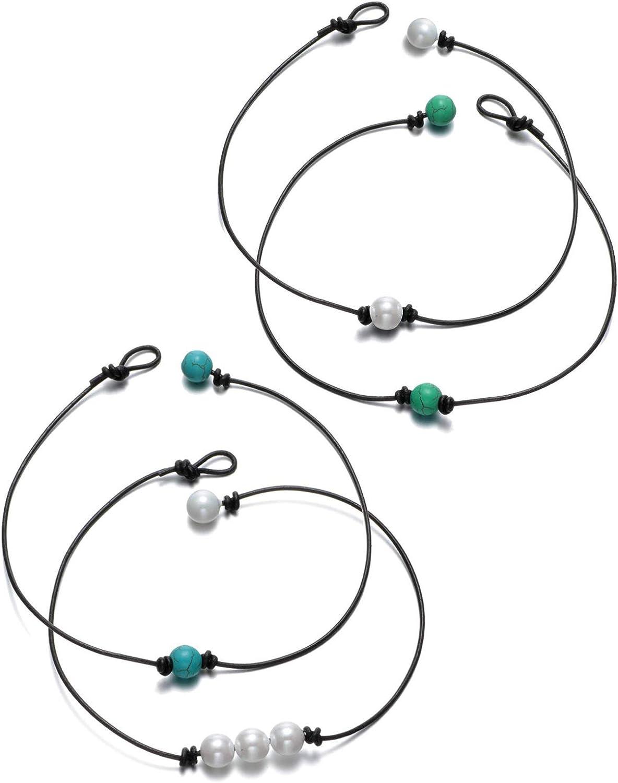 Finrezio 4 Piezas Perla Collar Gargantilla para Mujer Niña Hecho a Mano Delicado con Cuentas Colgante Cuerda De Cuero
