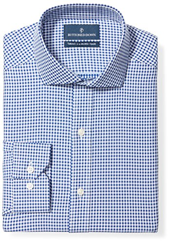 (BUTTONED DOWN Men's Tailored Fit Cutaway-Collar Pattern Non-Iron Dress Shirt, Navy Small Textured Check, 15.5