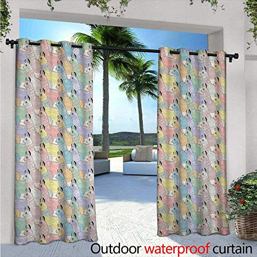 BlountDecor Teen Room Indoor/Outdoor Single Panel Print Window Curtain W96 x L96 Cute Little Alpacas Pattern Soft Toned Camel Animal Kids Nursery Folkloric Print Silver Grommet Top Drape Multicolor