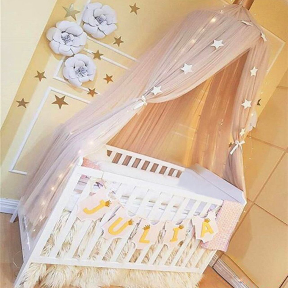 Khaki Samber Mosquito Net Bed Canopy Play Tent Bedding for Kids Playing Children Round Lace Dome Netting Curtains Bed Mantle Baby Boys Girls Games House
